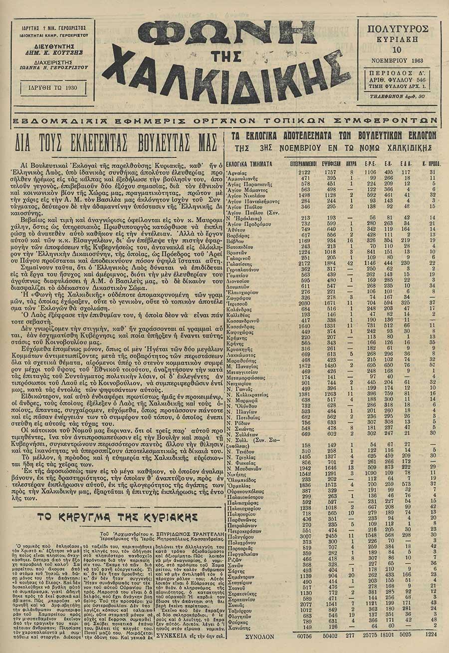 Φωνή της Χαλκιδικής 10-11-63 Αρ. Φύλλου 546