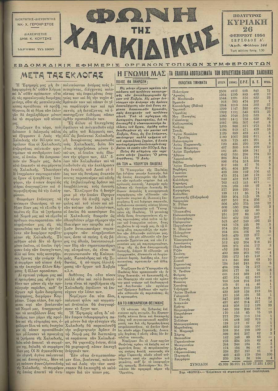 Φωνή της Χαλκιδικής 26-02-56 Αρ. Φύλλου 144